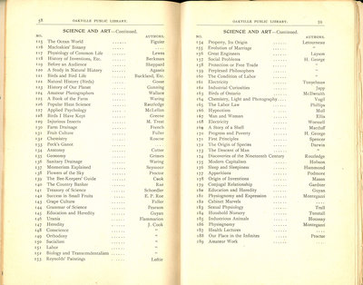 Oakville Public Library Catalogue (58-59)