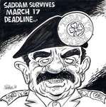 Steve Nease Editorial Cartoons: Saddam Survives March 17 Deadline