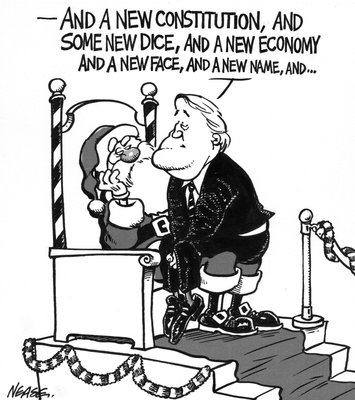 Steve Nease Editorial Cartoon: Mulroney's Christmas Wish List