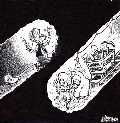 Steve Nease Editorial Cartoons: Chretien vs Underground Economy