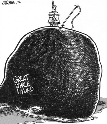 Steve Nease Editorial Cartoons: Cree Struggle Against Great Whale Hydro