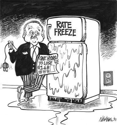 Steve Nease Editorial Cartoons: Ontario Hydro Rate Freeze