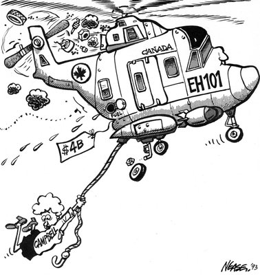 Steve Nease Editorial Cartoons: Kim Campbell's Shipborne Helicopters