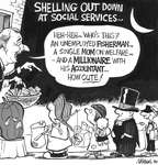 Steve Nease Editorial Cartoons: Shelling Out at Social Services