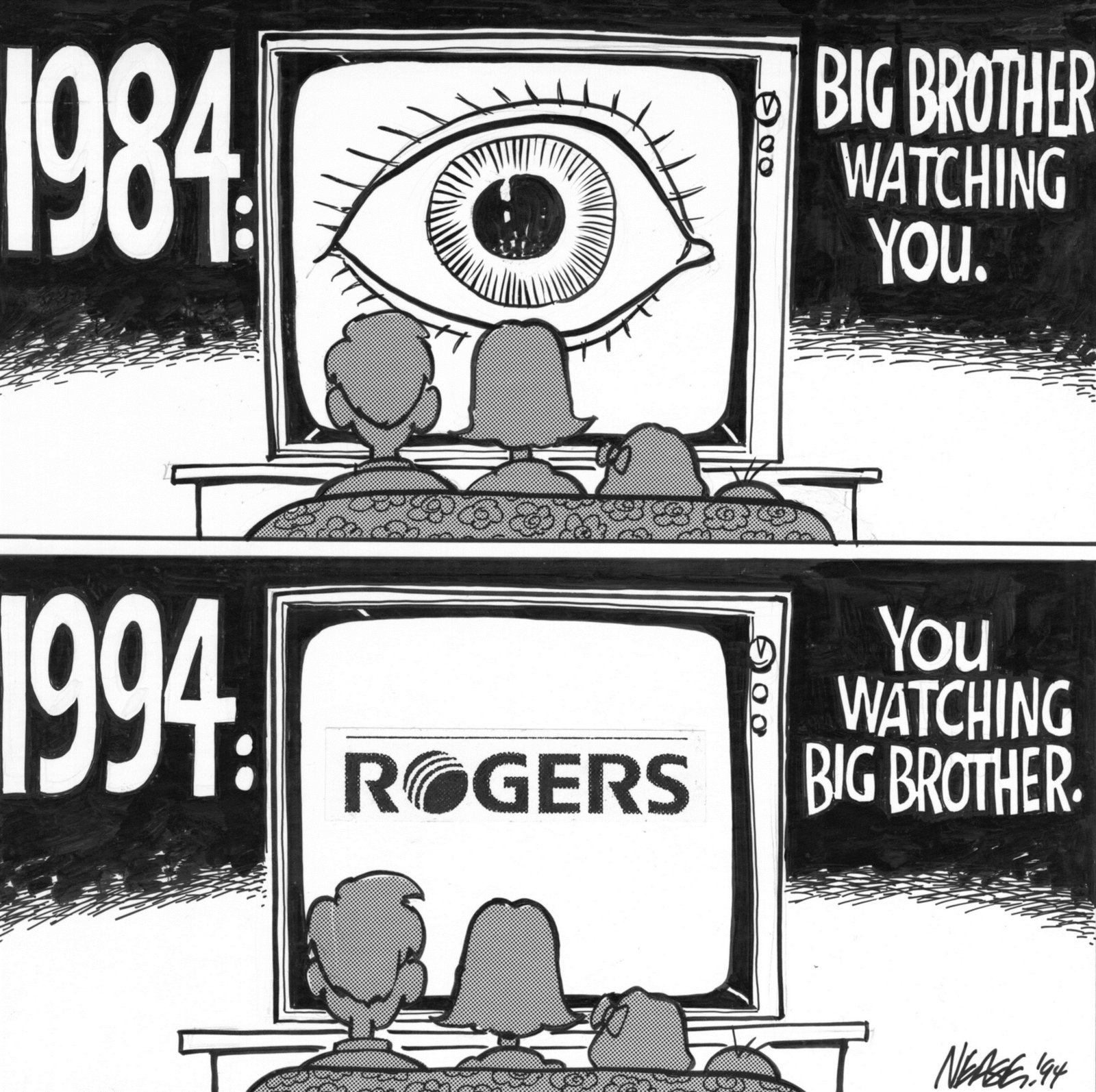 big brother is watching you Big brother is watching you 1984, vintage poster is printed with premium inks for brilliant color and then hand-stretched over museum quality stretcher bars 60-day money back guarantee and free return shipping.
