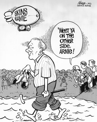 Steve Nease Editorial Cartoons: Palmer Walking on Water