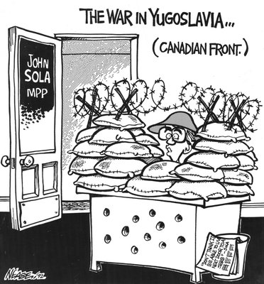 Steve Nease Editorial Cartoons: Canadian Front in Yugoslavia