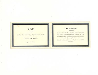 Funeral card for Charles Pope