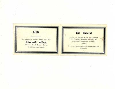 Funeral card for Elizabeth Abbott