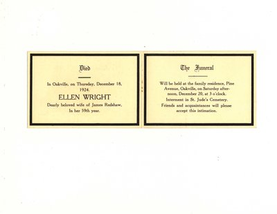 Funeral card for Ellen Wright