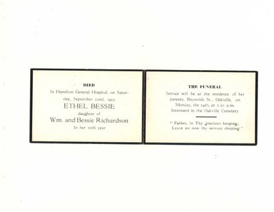 Funeral card for Ethel Bessie