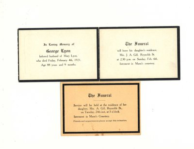 Funeral card for George Lyon and Mary Lyon
