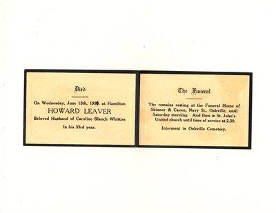 Funeral card for Howard Leaver