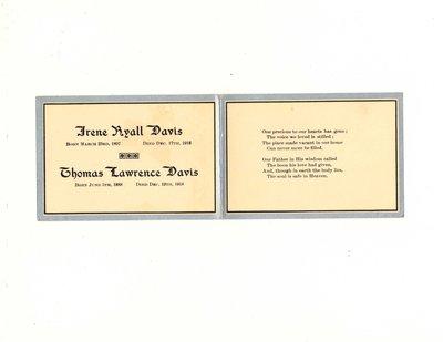 Funeral card for Irene Ryall Davis and Thomas Lawrence Davis