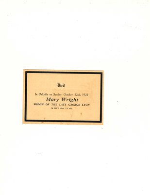 Funeral card for Mary Wright