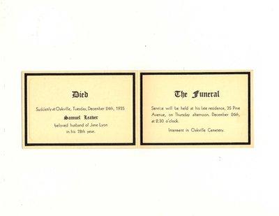 Funeral card for Samuel Leaver