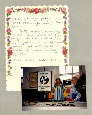 Bronte Horticultural Society Banner and thank you note for Betty Steel