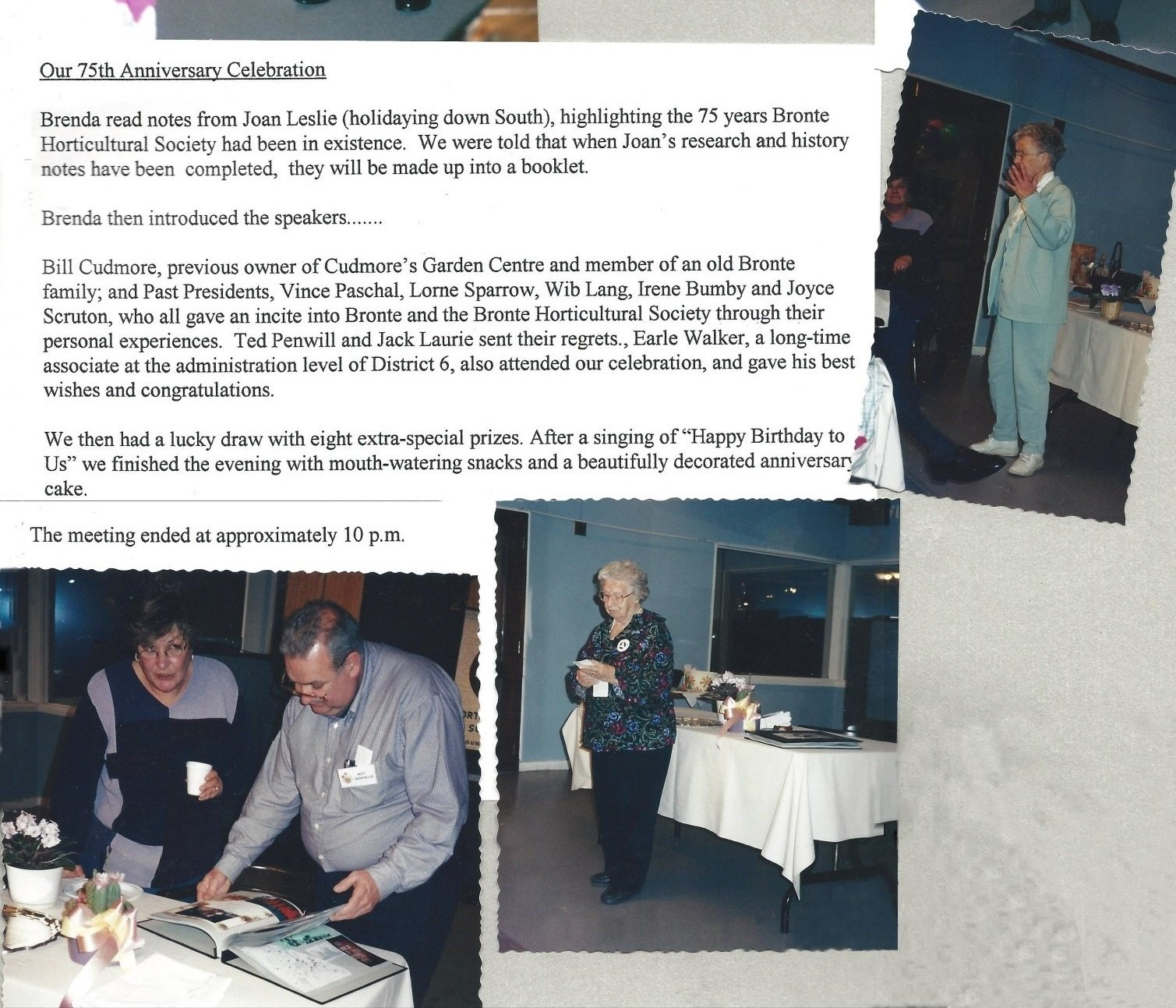Bronte Horticultural Society 75th Anniversary celebration