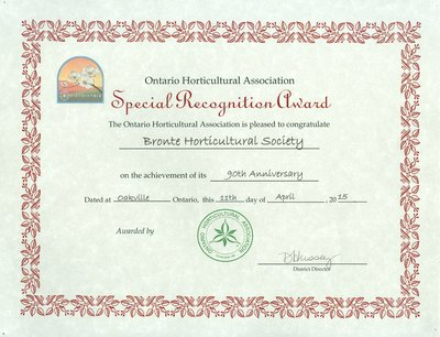 Bronte Horticultural Society 90th Anniversary certificate from Ontario Horticultural Association