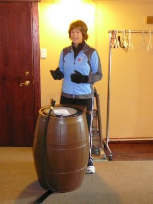 Halton Region staff promoting rain barrels