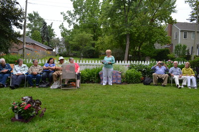 Paula Warwick making opening remarks at Bronte Horticultural Society 90th Anniversary plaque unveiling
