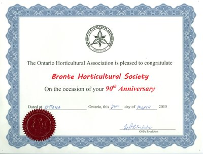 Bronte Horticultural Society 90th Anniversary Certificate from OHA