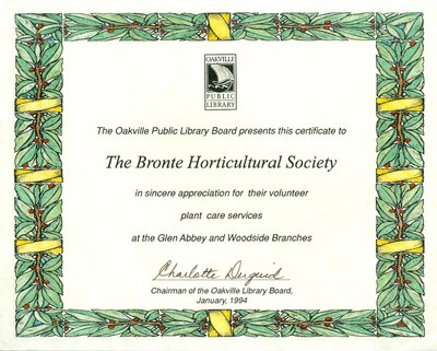 Bronte Horticultural Society Certificate from the Oakville Public Library Board