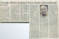 George Atkins founded Farm Radio International
