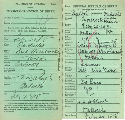 Notice and Return of Birth for Audrey Marion Holbrook