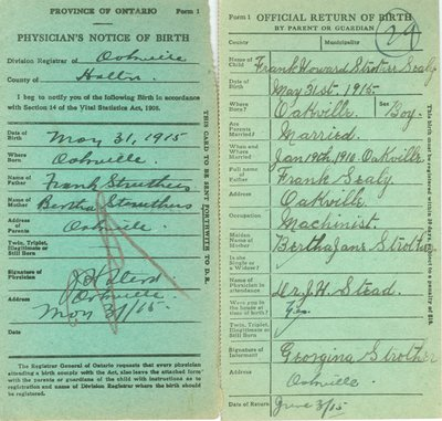 Notice and Return of Birth for Frank Howard Struthers Sealy