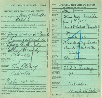 Notice and Return of Birth for Olive May Crosbie
