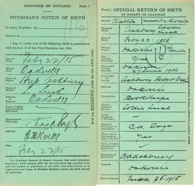 Notice and Return of Birth for Edwin Lusk Ashbury