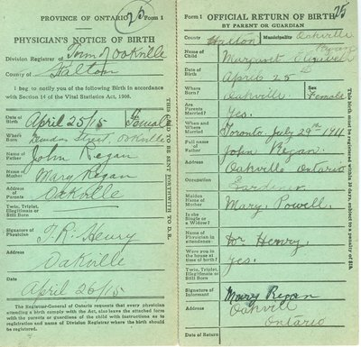 Notice and Return of Birth for Margaret Elizabeth Regan