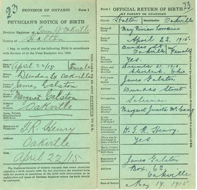 Notice and Return of Birth for Mary Vivian Lorraine Galston