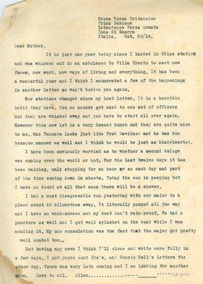 Allan Davidson Letter, October 20, 1918