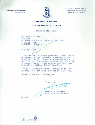 Letter from Kenneth Langdon to Ryland New