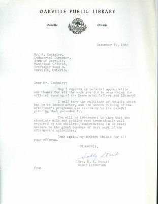 Letter from R.G. Stout to R. Cooksley