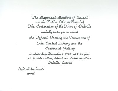 Oakville Centennial Project Opening Official Invite