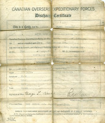 CANADIAN OVERSEAS EXPEDITIONARY FORCES Discharge Certificate