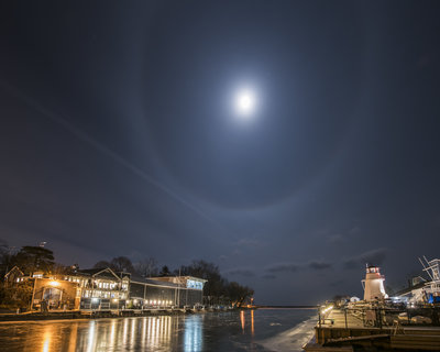 Moon Halo over Oakville Harbour