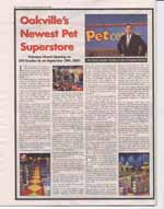 Oakville's newest pet superstore : Petcetera grand opening on 370 Dundas St. on September 29th, 2001
