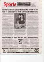 Former Oakville junior tennis star went on to Hall of fame career with University of Florida