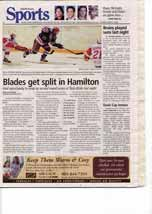Blades get split in Hamilton: Had opportunity to wrap up second round series at Twin Rinks last night