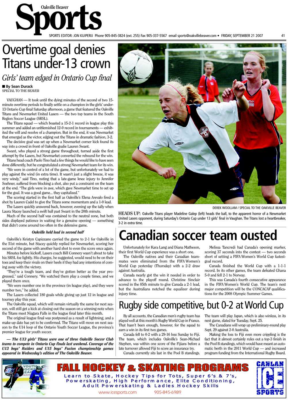Overtime goal denies Titans under-13 crown: girls' team edged in Ontario cup final