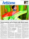 Young musician up for Ontario Indie Music Award