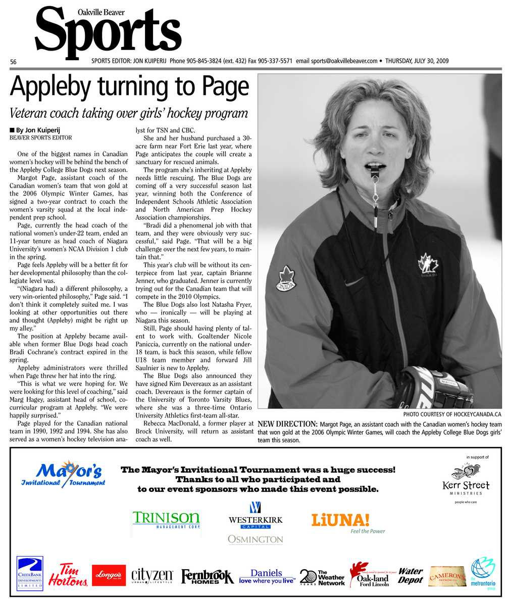 Appleby turning to Page: veteran coach taking over girls' hockey program