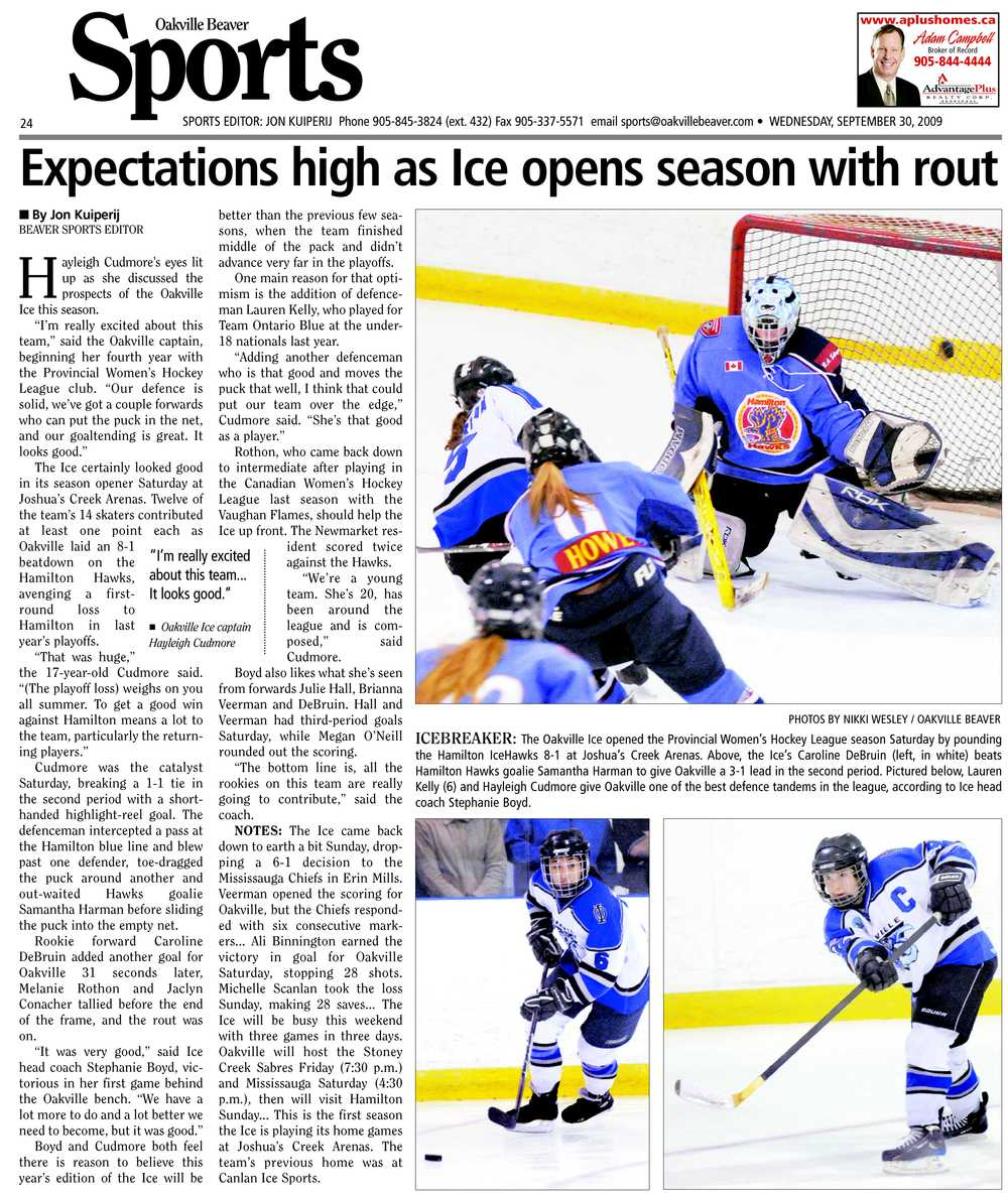 Expectations high as Ice opens season with rout