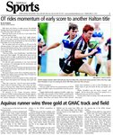 Aquinas runner wins three gold at GHAC track and field