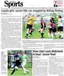 Loyola girls' soccer title run snapped by Bishop Reding