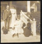 Arch Hodgman, Ann Flett, Minnie Hodgman, Hazel and Emelda Chisholm, Dogs John's Topsy and Toby at Mount Vernon